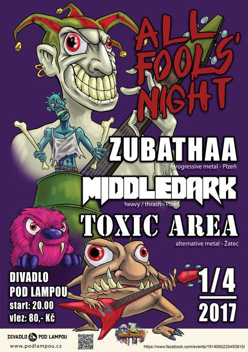 Plakát ke koncertu Middledark, Zubathaa a Toxic Area - 1. 4. 2017 v Plzni