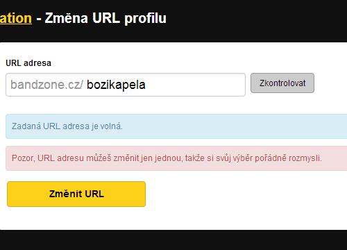 Změna URL profilu
