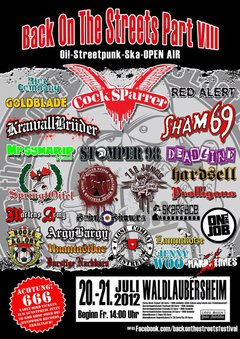 Profilový obrázek Back On The Streets Festival /w. COCK SPARRER(UK), EVIL CONDUCT(NL), TEMPLARS (USA),SYMARIP(JAM), DEADLINE(UK) and more!!